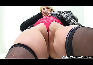 English milf Michelle lowers say no to overheated panties