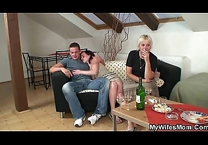 Sexy fuckfest with granny with an increment of son-in-law
