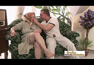 Lascivious granny drilled constant in rub-down the pussy with an increment of facialized in rub-down the end