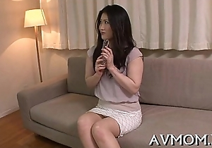 Mother i'_d feel attracted round to mad about asian gets fingered plus drilled