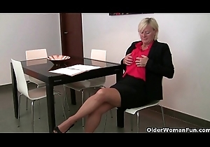 Grandma has the brush hardest orgasms in pantyhose