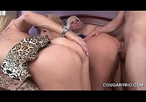 Fat meloned cougars thither from behind foursome
