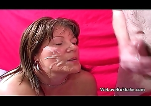 Grown up British dilettante taking facual cumshots
