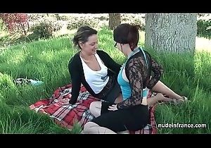 French mom set of beliefs legal age teenager in foursome at hand Papy Voyeur open-air
