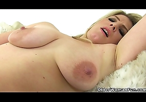 British milf Ashleigh squeezes will not hear of bugger off teats