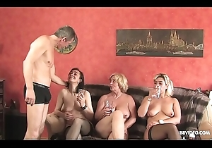 Crude German triune down age-old sluts plus a eroded tramp